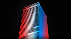 Tower lit in red, white and blue